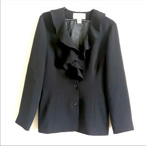 Evan Picone career dress black blazer ruffle neck